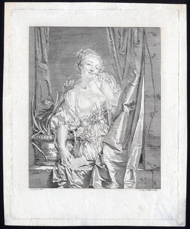 Augustin de St. Aubin Figurative Print - Le Baiser Envoyé - The blown kiss.