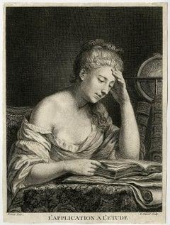 L'application a l'etude - A woman studying.