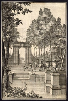 This print shows: two nobles on horseback riding in an architectural garden.