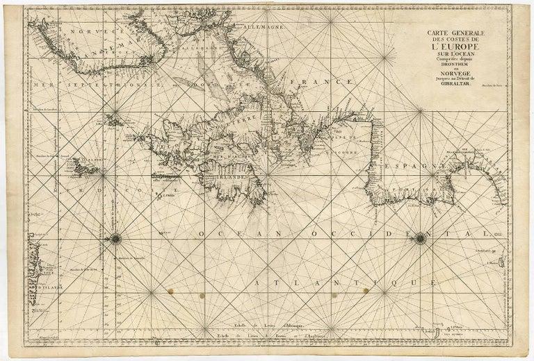 Carte Europe Avec Meridiens.Carte Generale Des Costes De L Europe Sur L Ocean