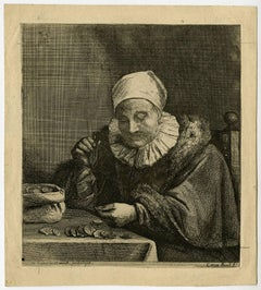 Untitled - A woman weighing gold coins.