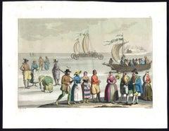 Plate 26: Nederlandse klederdracht met zeilwagen en zeilboot [...].