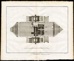 Plate XXXII - XXXIII: 'Charpente, Moulin a Eau sur Bateau.