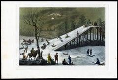Beautiful moonlit scene with winter sports activities [...].