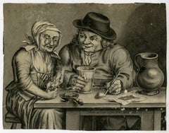 Untitled - A man with a glass and pipe at a table with an old woman [...].