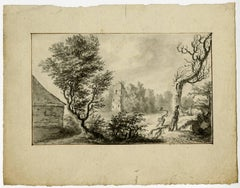 Untitled - This drawing shows two loggers near a barn, ruin and trees.