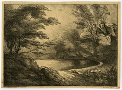 Untitled - View of a pond surrounded by trees.