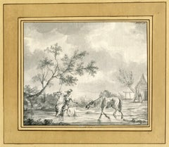 Untitled - A rider on horseback leading a horse through a river.