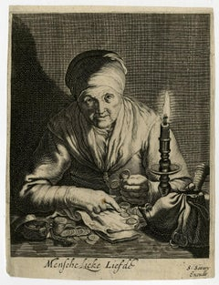 Menschelicke liefde - An old woman counting money; allegory on avarice.