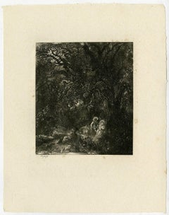 Untitled - Fantastic landscape with the rest on the flight to Egypt.