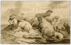 Untitled - Goat and sheep in a landscape.