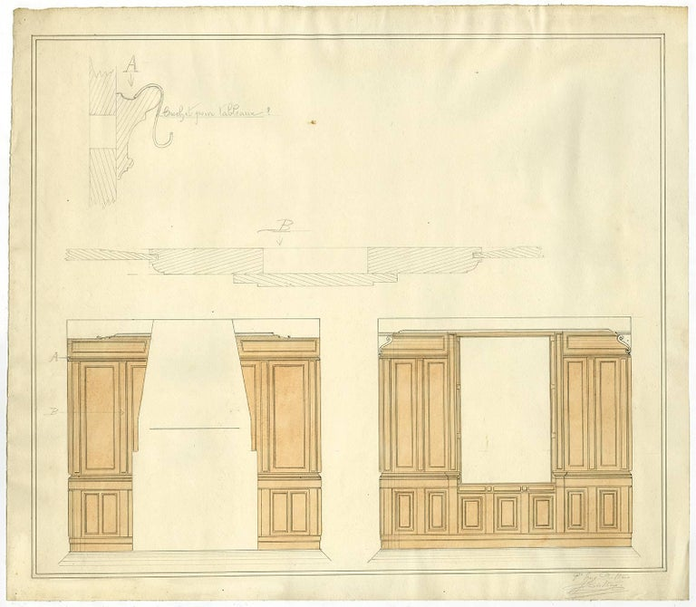 Untitled - Two designs for the panelling of a room.