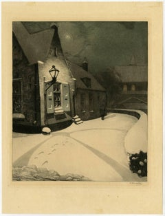 Winternacht - View of a man walking in the snow at night.