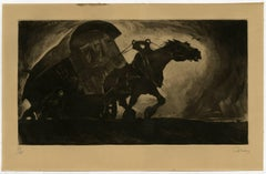 Untitled - A wagon pulled by a horse.