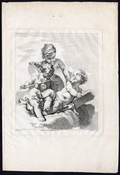 Untitled - Three putti / cherubs making music, with a flute and tambourine.