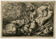 Untitled - A sleeping shepherd with his dog and goats.