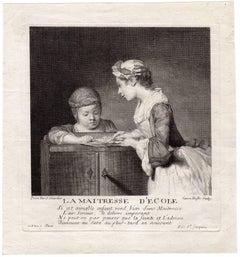 La maitresse d'ecole - A girl teaching a child to read.