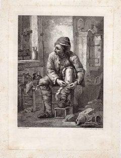 Untitled - A man bandaging his leg.