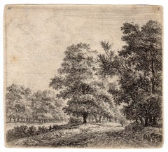 Untitled - Landscape with a road between trees.
