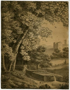 Untitled - An Italianate landscape with a large tree near a spring.