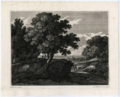 Untitled - This print shows a landscape with travelers.