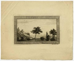 Untitled -This print shows shows a river landscape with trees and a lodge [...].