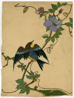 Untitled - A radiant bird on a thorny branch with colorful flowers.