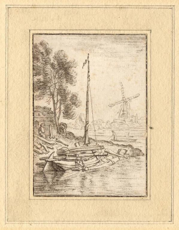 Set of 2 prints: A ship's wharf & A bend in the river with a ship. - Print by Cornelis Ploos van Amstel
