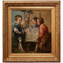 18th Century, French Oil on Canvas Painting in Gilt Frame after Charles Van Loo