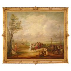 Monumental 18th Century French Oil on Canvas Painting in Ornate Gilt Frame