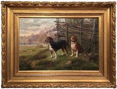 19th Century French Signed and Dated Hunting Dogs Painting in Gilt Frame 1888
