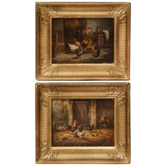 Pair of 19th Century French Oil on Panel Chicken Paintings in Gilt Frame