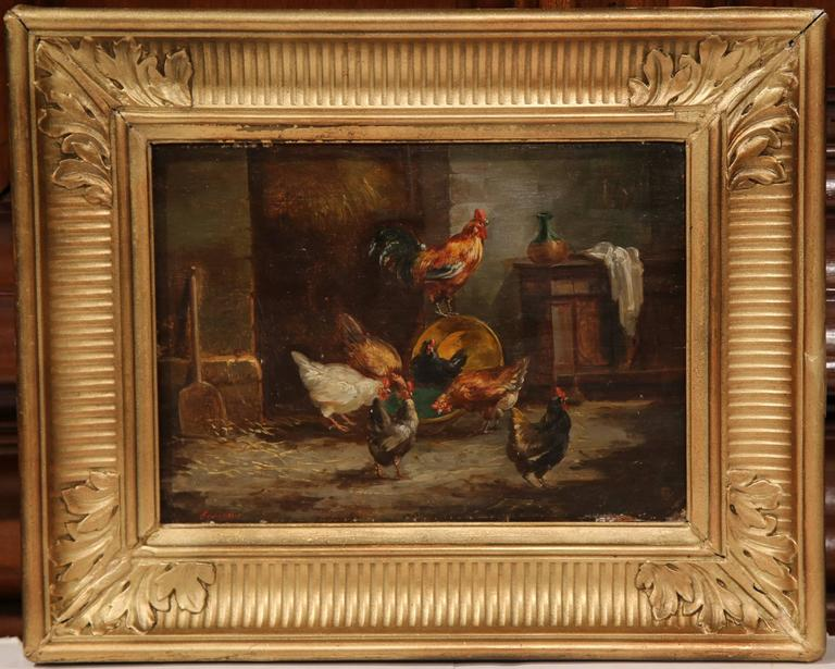 Unknown Pair Of 19th Century French Oil On Panel Chicken