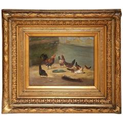 19th Century French Chicken Oil Painting on Board in Original Carved Gilt Frame