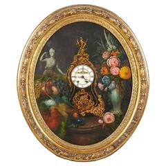 Early 19th Century French Framed Oval Trompe L'Oeil Painting with Real Clock