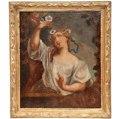 Early 18th Century Oil on Canvas Painting of a Young Beauty in Carved Gilt Frame