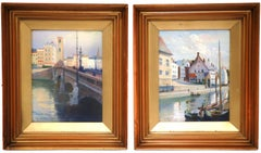 Pair of Early 20th Century English Framed Watercolors Scenes Signed and Dated