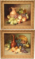 Pair of French Still Life Paintings Signed and Dated L. Menicanti Lyon 1908