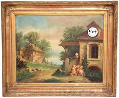 "19th Century French ""Clock Painting"" with Music Box Both in Working Order"
