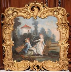 18th Century French Louis XV Trumeau Painting in Carved Gilt Frame