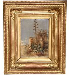 19th Century Italian Oil on Board Painting in Gilt Frame Signed L. Franco