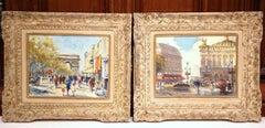 Pair of Early 20th Century Paris Scenes Oil Paintings in Carved Giltwood Frames