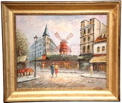 "Early 20th Century French Painting ""Le Moulin Rouge"" in Antique Gilt frame"