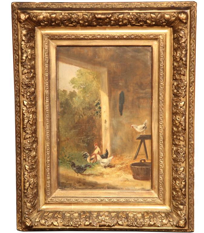 19th Century French Chicken Painting on Board in Gilt Frame Signed Dubois