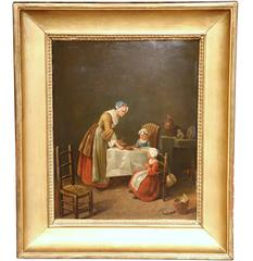 """19th Century French Oil Painting on Board """"Le Bénédicité"""" or Grace in Gilt Frame"""