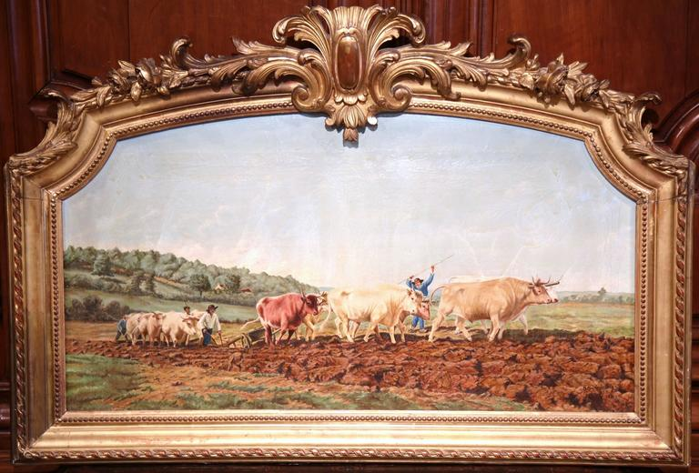 Early 20th Century French Oil Cows Painting in Carved Arched Gilt Frame