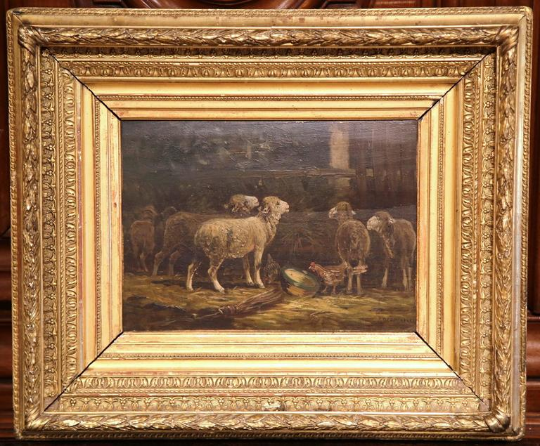 Early 20th century French Oil on Board Sheep Painting Signed R. Desvarreux