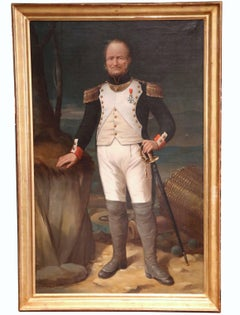 Large Mid 19th Century Oil Painting of a French Officer in Gilt Frame