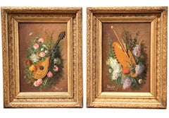 Pair of 19th Century Still Life Paintings in Gilt Wood Frames Signed Petit 1889