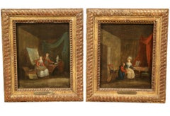 Pair of 18th Century Paintings on Board Signed N. Lavreince
